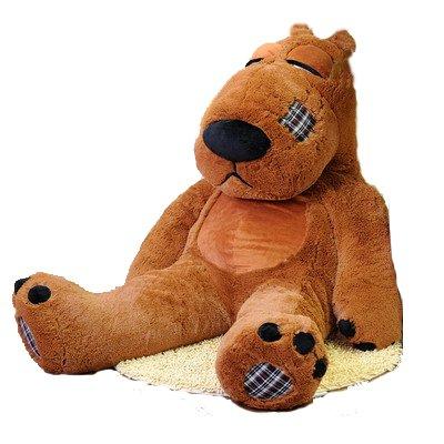 大号 欠揍熊 倒霉熊 道歉熊 毛绒玩具公仔 布偶 布娃娃 (1米, 棕色)