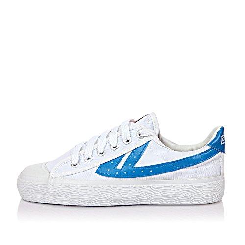 Warrior 鞋 我知女人心经典篮球鞋男鞋女鞋情侣帆布运动鞋白蓝色系带wb-1A