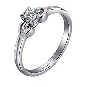 Dlady黛丽珠宝 18K白金钻石戒指(女戒-12#)-花样年华系列-彼此[L1-00118]