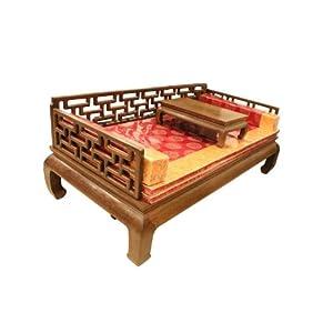 龙上龙 东阳木雕红木家具 鸡翅木实木家具万字格罗汉床 仿古家具