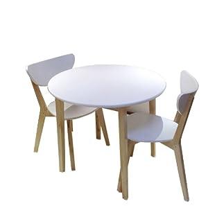实木餐桌椅组合 桦木圆桌 现代简约风格一桌两椅 咖啡