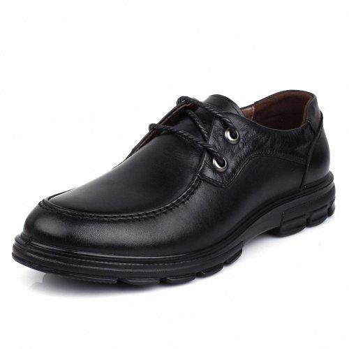 意尔康 日常休闲舒适男真皮皮鞋系带圆头平跟男单鞋潮流时尚鞋