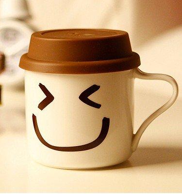快乐家 带硅胶盖搞笑生活帽子表情杯 超级可爱qq杯 (a008-c5)