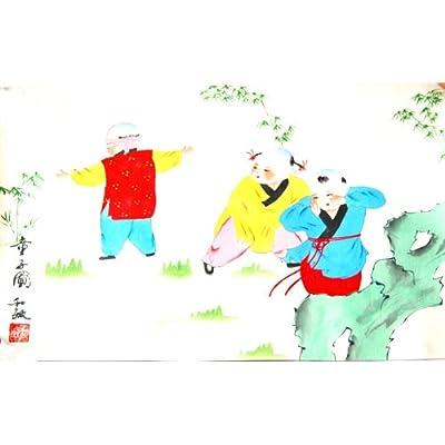 中国画---手绘托裱绢画中国古代儿童体育捉迷藏(因为