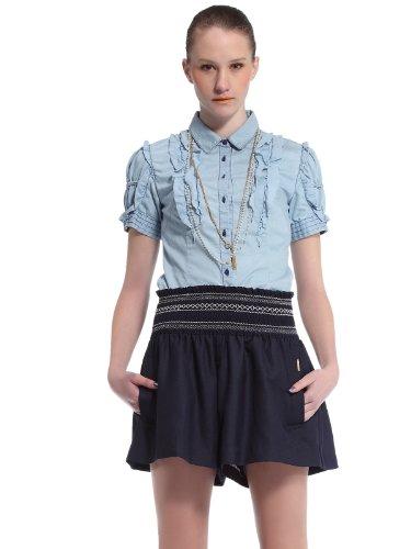 ochirly 欧时力 复古时尚翻领短袖牛仔衬衫 女式 1113011730600