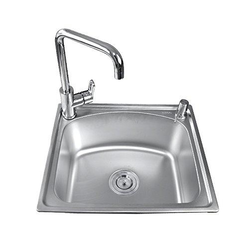 瑞士希箭 水槽单槽 水槽套餐 厨房水槽 304不锈钢洗菜盆洗碗池 500*420MM 五年质保 全场满399赠价值99工具箱套装(单槽带铜合金七字龙头套餐)-图片