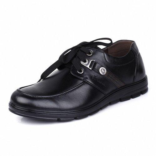 意尔康 日常休闲耐磨防滑男单鞋真皮皮鞋系带圆头平跟鞋 73210