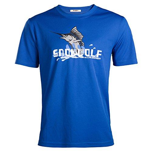 SnowWolf 雪狼 男式 修思圆领速干T恤 11113279-X010 蓝色 185/100A-图片