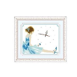 恋美印布十字绣 70016-Z036-美丽心情(蓝)(图案印在布上无需画格) 中格 11CT