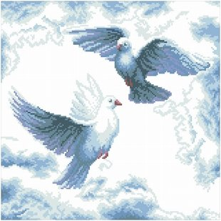 dmc 多美绣 大幅客厅卧室欧式动物白鸽祥云 法国 十字