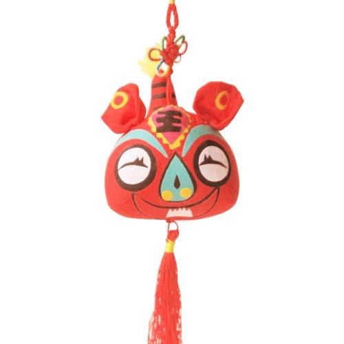 可爱虎挂件 布艺公仔布偶娃娃 生日礼物结婚礼品 小鸡啄米 (红色)