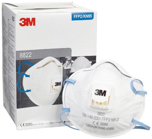 3M 8822颗粒物防护口罩(10只 用于防护极细的工业粉尘 FFP2颗粒物防护口罩(欧共体EN149:2001标准)94%以上的过滤效果 可长时间佩戴)