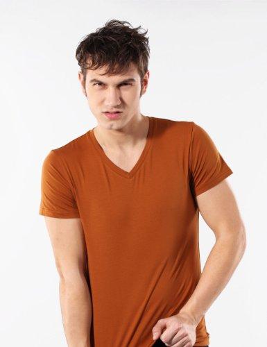 艾诗祺 T恤男 男士V领T恤 纯棉打底衫 6色可选-T005 土黄色