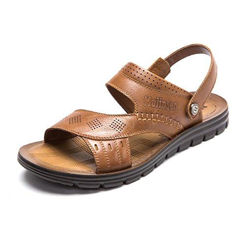MULINSEN 木林森 男凉鞋夏季新款真皮镂空透气韩版潮休闲鞋 男士防滑沙滩鞋
