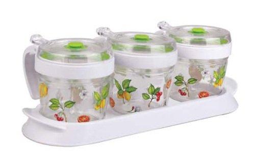 Elemental Kiitchen 居元素 密封玻璃调料瓶组合带调料架 (乐果缤纷)-图片