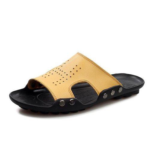 Yulu 优牛 春夏韩版潮流休闲男鞋简约拖鞋真皮舒适半拖个性凉鞋一脚蹬 黄色 43