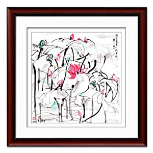 腾画 客厅现代装饰画 卧室餐厅书房墙画壁画挂画 花卉 吴冠中 红木色