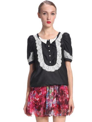 ochirly 欧时力 可爱甜美蕾丝圆领衬衫 女式 1113010180090