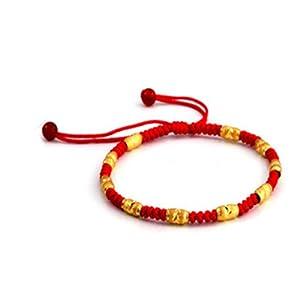 红色年轮 999千足金路路通黄金转运珠金珠本命年红绳手链 (7珠 0.