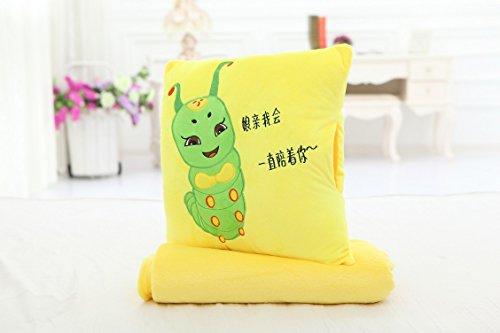 填充毛绒玩具礼品 办公室靠垫暖手午睡 抱枕毯子两用 暖手宝 (黄色
