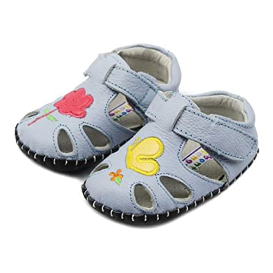 婴儿学步鞋 全真皮宝宝鞋小蜜蜂童鞋17-21码 tx5204-0135 浅蓝 21码