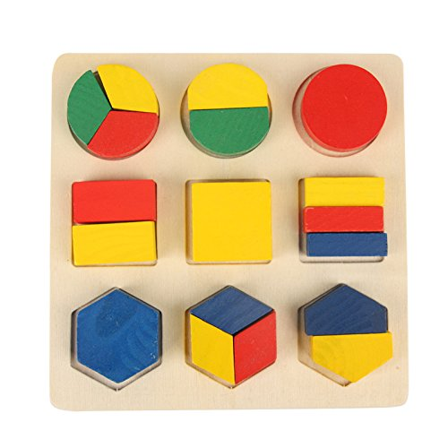 大贸商 幼儿园木制玩具9几何形状板配对板颜色形状益智积木玩具 (形状