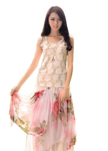 服装服饰 女装 连衣裙 卡其尔 女士抹胸大摆半身花长裙  详情参数
