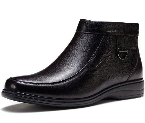 FGN 富贵鸟 高帮鞋男鞋冬季新款时尚休闲男士真皮保暖皮靴男鞋 D383911R