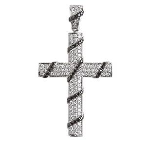 拾自系列14k白金群镶黑白钻石十字架吊坠