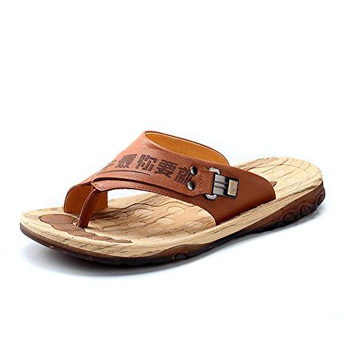 公牛世家 真皮男士拖鞋夏季人字拖潮流休闲凉拖鞋沙滩鞋888052