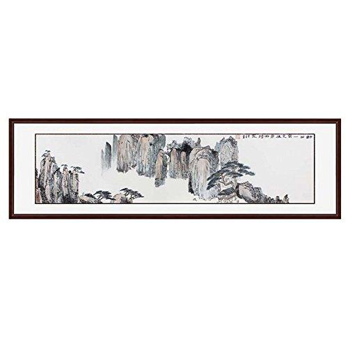 锦翰堂 手绘国画有框画 山水风景 好山一窗足 165*50cm