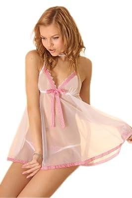 bewith 维姿甜美可爱粉色透明性感睡裙