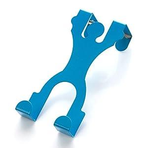 卡通人形门背式挂钩 创意无痕门后衣服挂架 免钉多功能挂衣架 (蓝色)