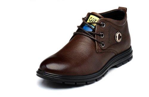 FGN 富贵鸟 富贵鸟冬季棉鞋 高帮商务休闲鞋 真皮皮鞋 英伦保暖男鞋 D384203R 棕色