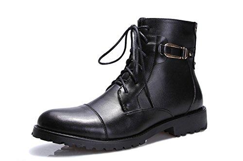 Unbeaten 英伦时尚复古潮靴 骑士靴 男士真皮拼接 马丁靴 舒适高端尊贵奢华 商务流行 皮鞋 高帮靴 个性 时装靴 男靴