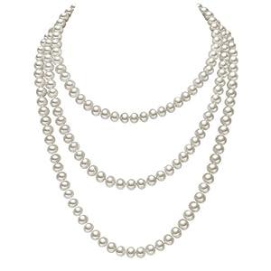 YESON 銀生珍珠160cm,9-10mm珍珠項鏈(白色)
