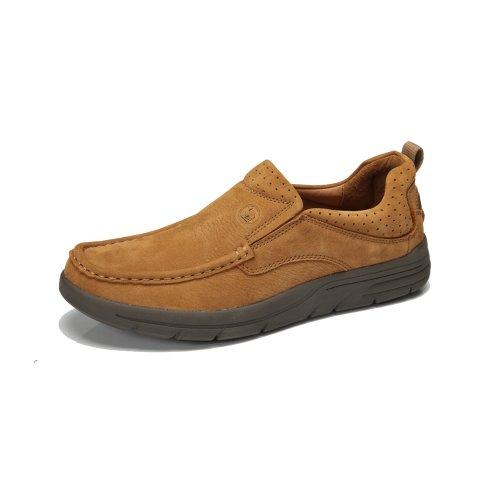 骆驼牌 正品男鞋 真皮男士休闲鞋豆豆鞋 套脚板鞋磨砂皮单鞋子男款休闲鞋子 W32308032