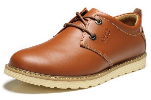 GUCIHEAVEN 549 商务休闲鞋 牛皮男鞋 潮流低帮鞋子 咖啡色