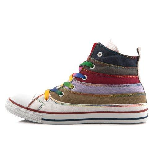宝达 2014春夏季帆布鞋女韩版潮新款系带硫化鞋高帮七彩女帆布鞋潮 平跟