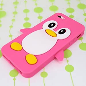 pandaooiphone5立体硅胶企鹅保护套 苹果5手机保护壳