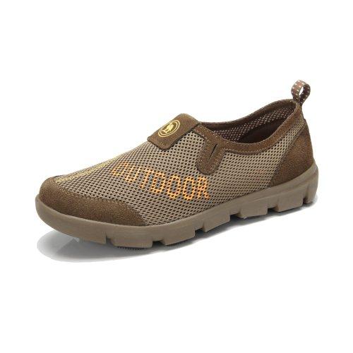 Camel 骆驼牌正品男鞋 户外徒步运动网鞋 网布透气休闲牛皮圆头鞋 W32303038