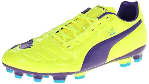 PUMA 男士 Evopower 3 AG 足球鞋 Fluro Yellow/Prism Violet/Scuba Blue 12 D(M) US