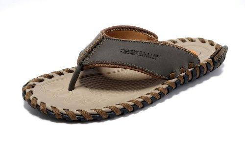 Deewahua 迪万 新款橡胶底人字拖 夏日必备凉鞋 时尚人字拖 纯手工缝制凉鞋 男士沙滩鞋 男鞋