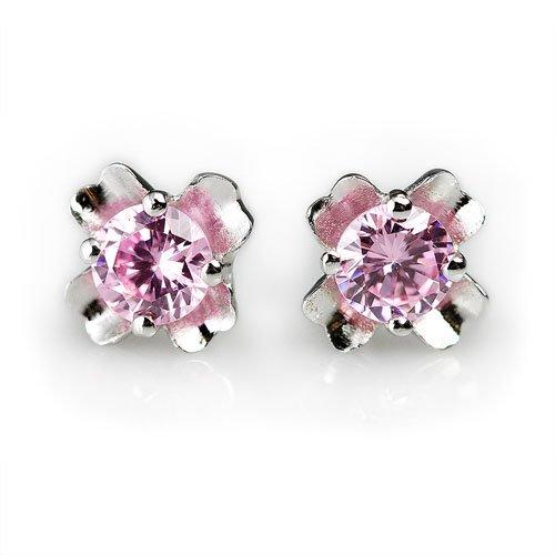 王廷珠宝 925银 晒幸福 粉红晶耳饰 送925银耳托-图片