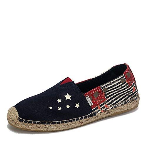 Tt&Mm 汤姆斯 2015男士帆布鞋透气草编鞋底布鞋条纹涂鸦休闲男鞋533210M