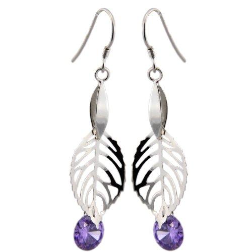 随石随玉 银饰耳坠-树叶 紫晶 爱情图片