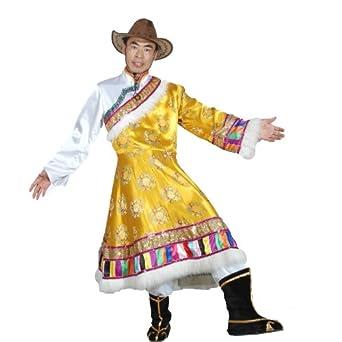德艺坊 男款黄色藏族服装 舞蹈表演服装 少数民族服装