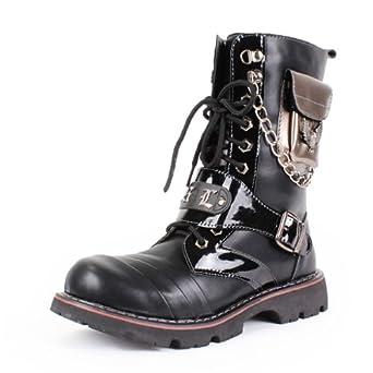 新款韩版时尚马丁靴男士帅气高筒靴个性铁链男
