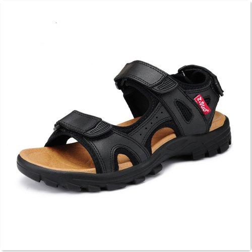 Z.SUO 走索 夏季新款男鞋 男士正牛皮休闲凉鞋黑色0163