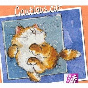 大幅客厅卧室欧式卡通油画12月猫逃跑